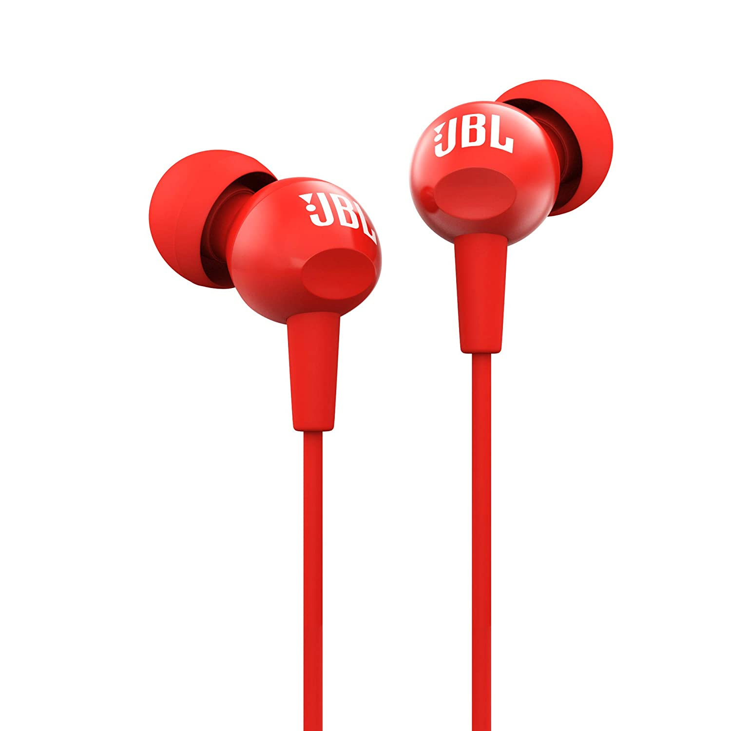 JBL C100SI In-Ear Deep Bass Headphones with Mic (Red)